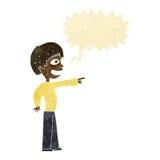 grinsender Junge der Karikatur, der mit Spracheblase zeigt Stockfotografie