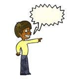 grinsender Junge der Karikatur, der mit Spracheblase zeigt Lizenzfreie Stockbilder