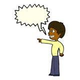 grinsender Junge der Karikatur, der mit Spracheblase zeigt Lizenzfreie Stockfotos