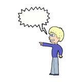 grinsender Junge der Karikatur, der mit Spracheblase zeigt Stockfoto