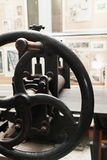 Grip of ancient handle printing press, close-up Stock Images