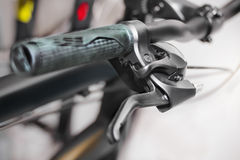 Grip of bicycle handle bar. And gear shifter stock photos