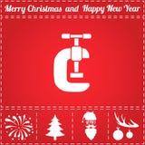 Grip Icon Vector. And bonus symbol for New Year - Santa Claus, Christmas Tree, Firework, Balls on deer antlers vector illustration