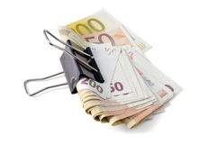 Grip on your Money. Tightening up on your money. Euro banknotes Royalty Free Stock Image