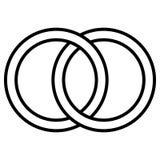 Gripa in i varandra cirkelsymbolstecknet, översiktscirklar Cirklar cirklar som gifta sig begreppssymbolssymbol vektor illustrationer