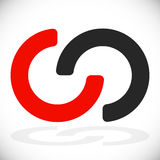 Gripa in i varandra cirklar som gripa in i varandra ringer som abstrakt anslutning, stock illustrationer