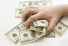 gripande pengar Arkivfoton