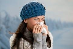 Gripe y fiebre del invierno Imágenes de archivo libres de regalías