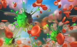 Gripe y frío común, infección de la sangre Microbios debajo del microscopio Inmunidad del cuerpo libre illustration