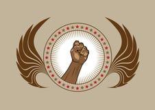 Gripit hårt om nävesymbol eller emblem Arkivfoton