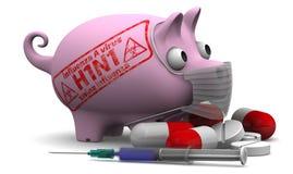 Grippe de porcs Virus de la grippe A (H1N1) Concept Photo libre de droits