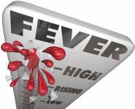 Grippe froide en difficulté de la température de maladie de mesure de thermomètre de fièvre Photo stock