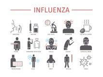 grippe Grippe-Symptome, Behandlung Flache Ikonen eingestellt Vektorzeichen lizenzfreie abbildung