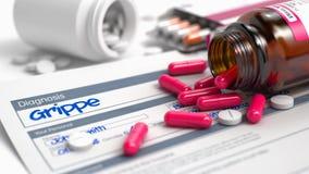 Grippe - inscription dans des antécédents médicaux 3d Photo libre de droits