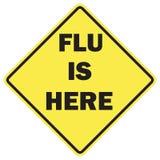 Grippe ist hier Warnzeichen lizenzfreies stockfoto