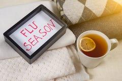 Grippe-Saison - Text im Rahmen Warme woolen Kleidung des Hintergrundes, eine Schale heißer Tee Lizenzfreies Stockbild