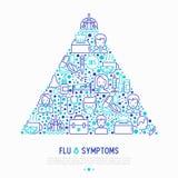 Grippe und Symptomkonzept im Dreieck stock abbildung