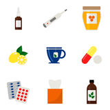 Grippeikonen eingestellt Bunte medizinische Ikonen auf weißem Hintergrund Stockbild