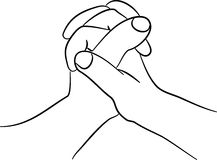 Gripping hands. A simple line drawing of two hands clasped together Royalty Free Stock Images