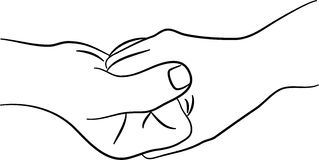 Gripping hands. A simple line drawing of two hands clasping together Royalty Free Stock Image