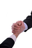 Gripping hands. Image of hands gripping as a handshake or greeting. Isolated on white Royalty Free Stock Photo