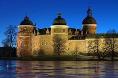 Gripsholm Castle in winter evening, Sweden Royalty Free Stock Photos