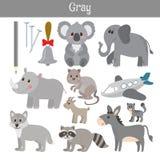 gris Apprenez la couleur Ensemble d'éducation Illustration de Co primaire Photo libre de droits