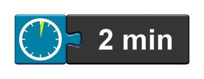 Gris bleu de bouton de puzzle : 2 minutes illustration stock