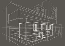 Gris de construction de croquis d'abrégé sur architectural linéaire concept Photo libre de droits