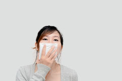 Gris de port modèle de femme asiatique chinoise Photographie stock