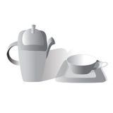 Gris del juego de té Imagenes de archivo