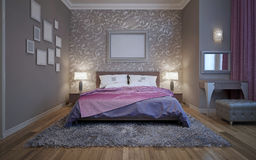 Gris en acier dans la conception moderne de la chambre à coucher Image libre de droits