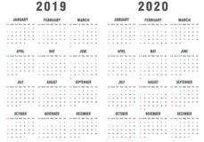 2019-2020 gris et blanc de calendrier photo stock
