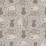Gris et Brown Cat Stitched Mouse Vector Pattern illustration de vecteur