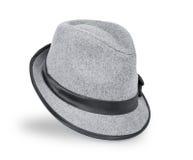 Gris fresco, sombrero flexible del fieltro/sombrero del sombrero de ala aislado en un fondo blanco imagenes de archivo