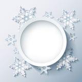 Gris moderne de fond d'hiver, flocons de neige 3d Photo stock