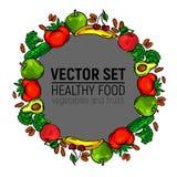 Gris sain de nourriture de cercle de cadre de légumes Image libre de droits