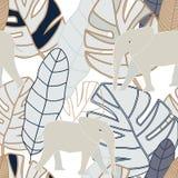 Gris tropical, beige, feuilles de marine avec l'éléphant beige sur le Ba blanc illustration libre de droits