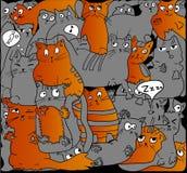 Gris y gatos del jengibre en negro Foto de archivo libre de regalías