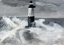 Lighthouse on the island. Stormy weather. Waves break on the rocks. Grisaille painting. Black and white abstract artwork. Gray acrylic background royalty free illustration