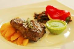 Griskött med grönsaker och sås Royaltyfri Fotografi