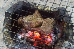 Griskött som grillas på den till salu kolugnen royaltyfri foto