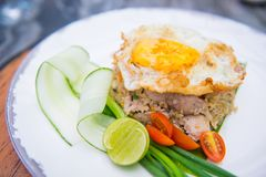 Griskött stekte ris med det stekte ägget fotografering för bildbyråer