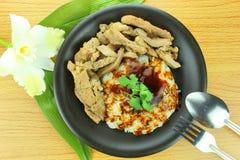 Grisköttbiff med ris Royaltyfria Bilder