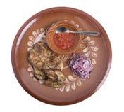 Grisköttbiff med tomatsås Royaltyfria Foton