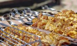 Grisköttkött som lagas mat på öppen brand Royaltyfria Bilder