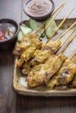 GrisköttSatay thailändskt recept Arkivfoto
