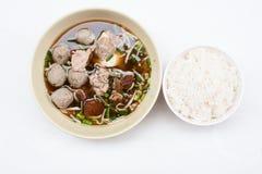 Grisköttsoppanudel med ris Arkivbild