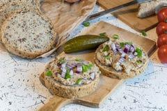Grisköttspridning, späcker och sura gurkor på nytt runt bröd som strilas med våren och den röda löken Arkivfoton