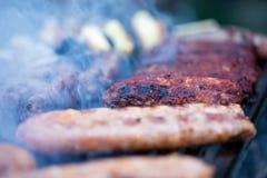 Griskött- och nötköttkorvar som lagar mat över de varma kolen på en grillfest Arkivfoto